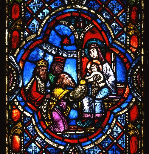 The Four Panels Of Christmas Window Depict Following Scenes Pictured Here Left To Right Annunciation Shepherds Presentation In